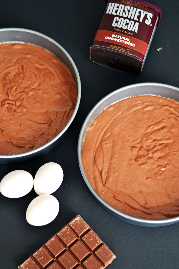Cake batter and ingredients for Triple Chocolate Cake