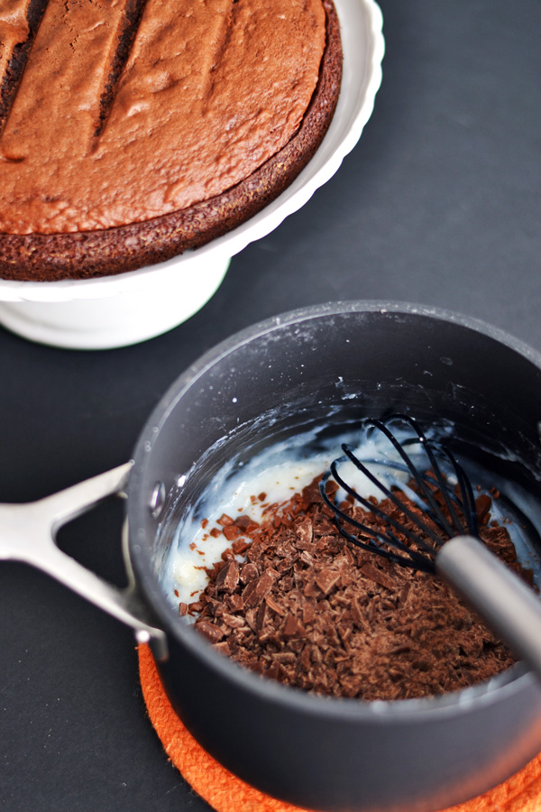 Middle chocolate layer and baked cake for Triple Chocolate Cake
