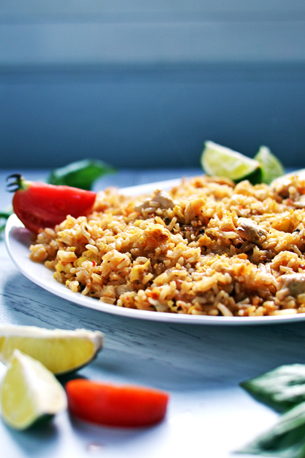 Close up of Thai Chicken Fried Rice dish