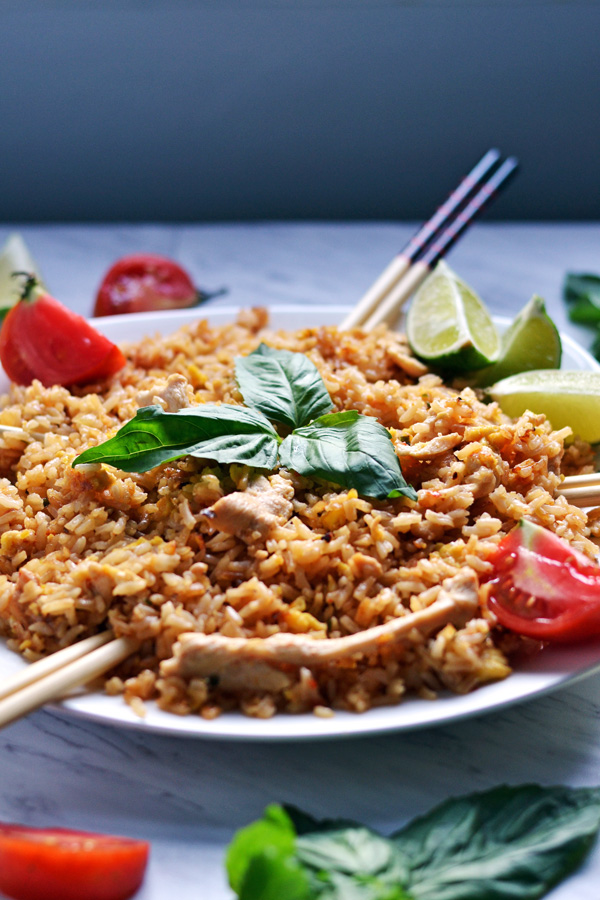Side angle of Thai Chicken Fried Rice