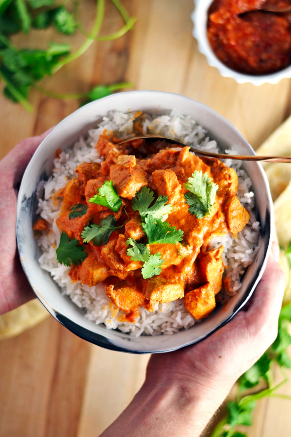 Bowl of Indian Butter Chicken.