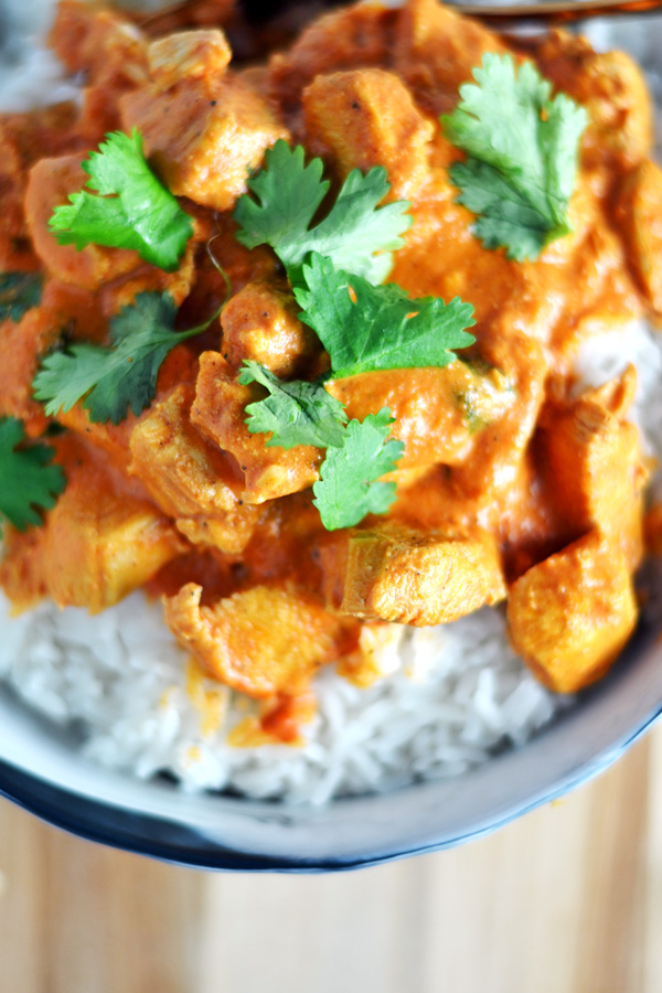 Detailed shot of Indian Butter Chicken.