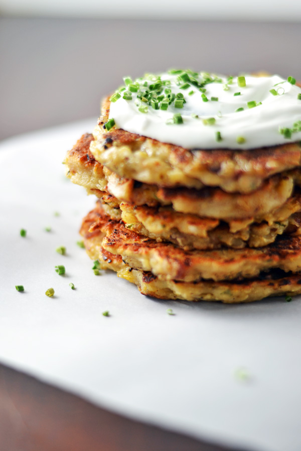 Side view of Mashed Potato Bacon Pancakes.