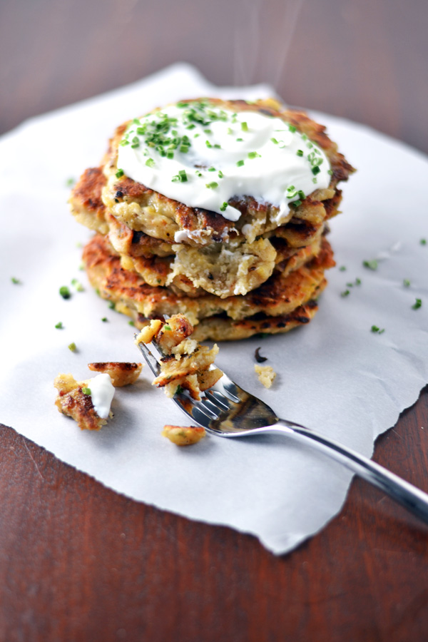 Ready to eat Mashed Potato Bacon Pancakes recipe on Ambs Loves Food.