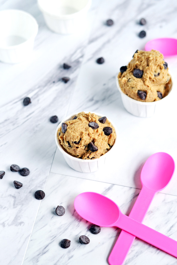 Edible Chocolate Chip Cookie Dough ready to eat.