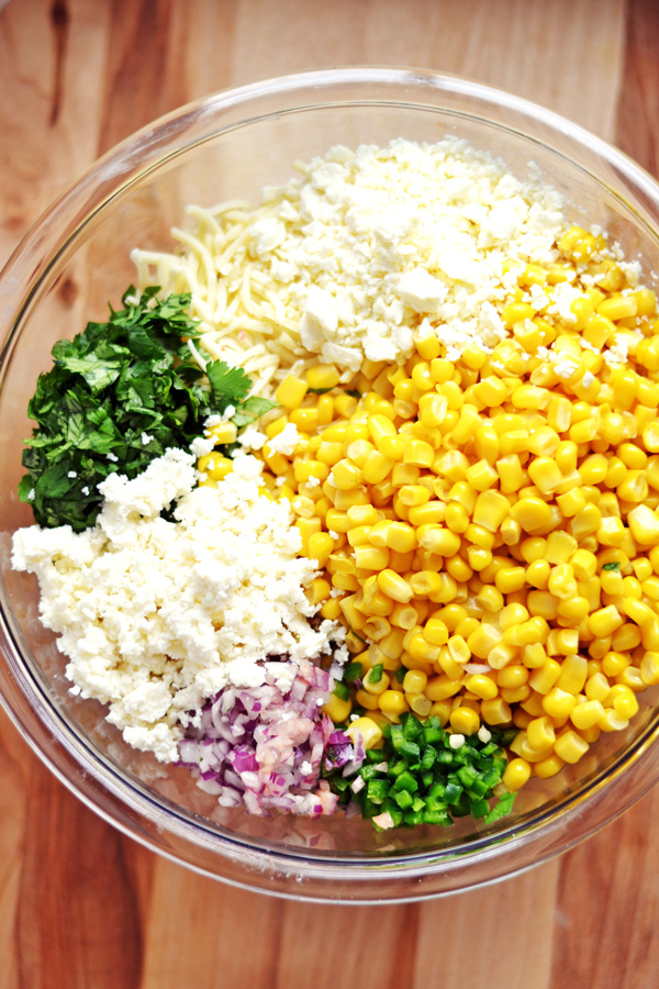 All the fillings for the Hot Mexican Corn Dip recipe.