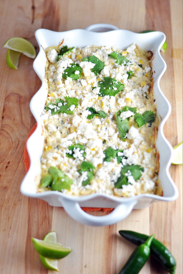 Hot Mexican Corn Dip ready for serving.